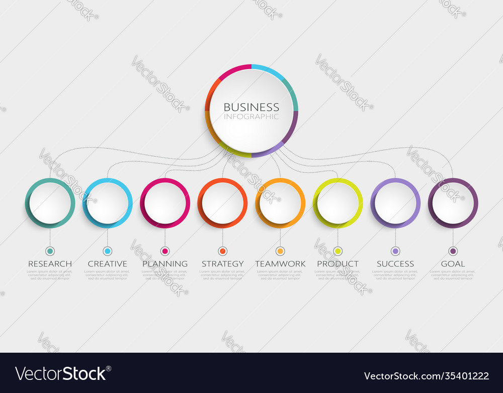 Abstract 3d infographic template with 8 steps for