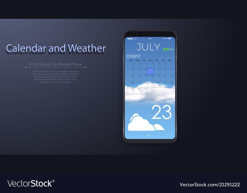 Calendar weather app ui design for mobile phone