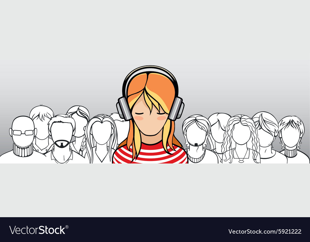 Crowd of people with one stand out vector image