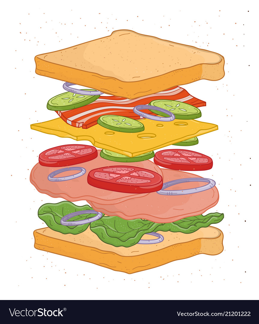 Delicious sandwich with layers or ingredients