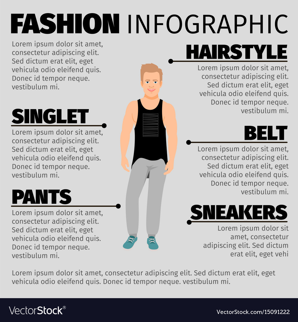 Fashion infographic with strong guy