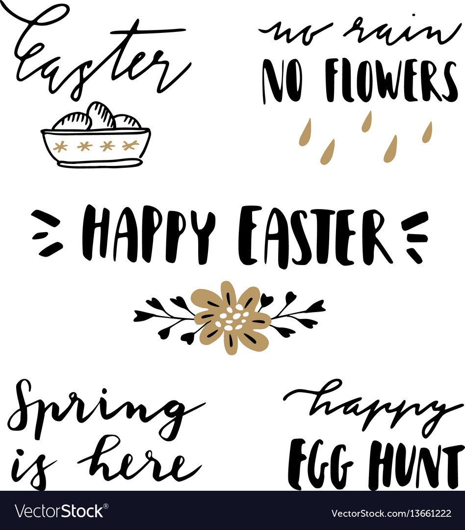 Happy easter lettering set hand written quotes