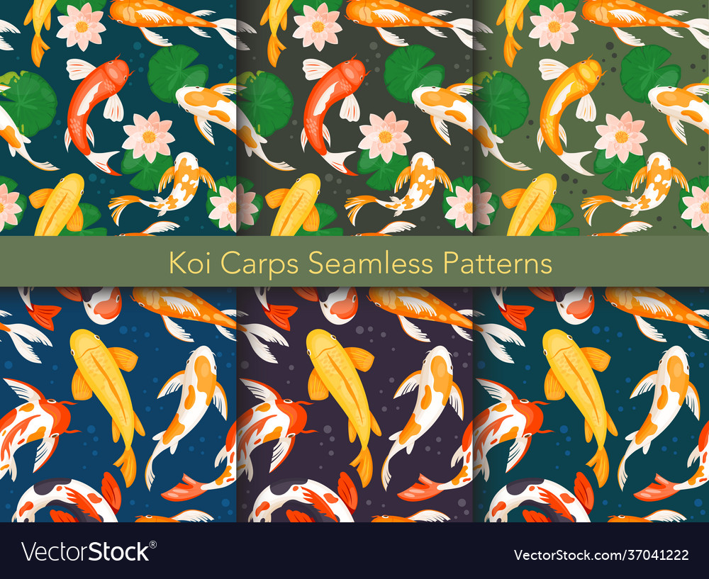 Koi carp fishes seamless pattern