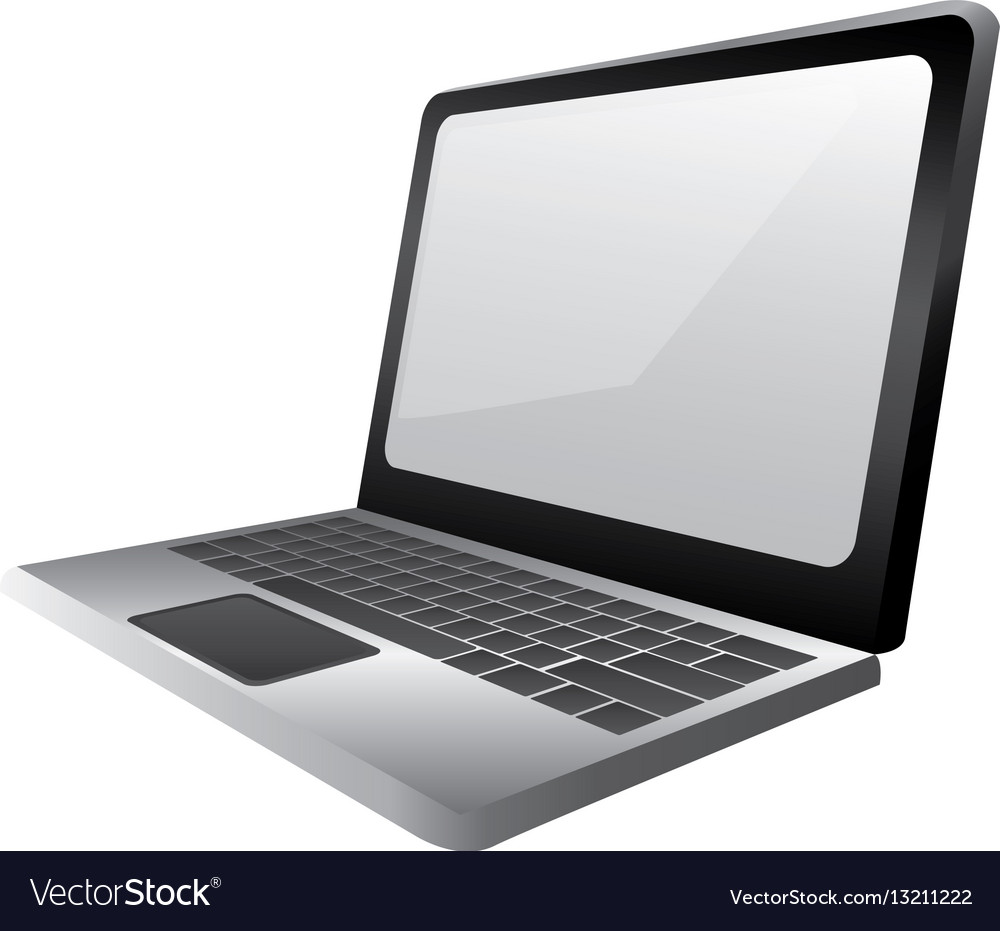 monochrome silhouette with laptop side view vector image