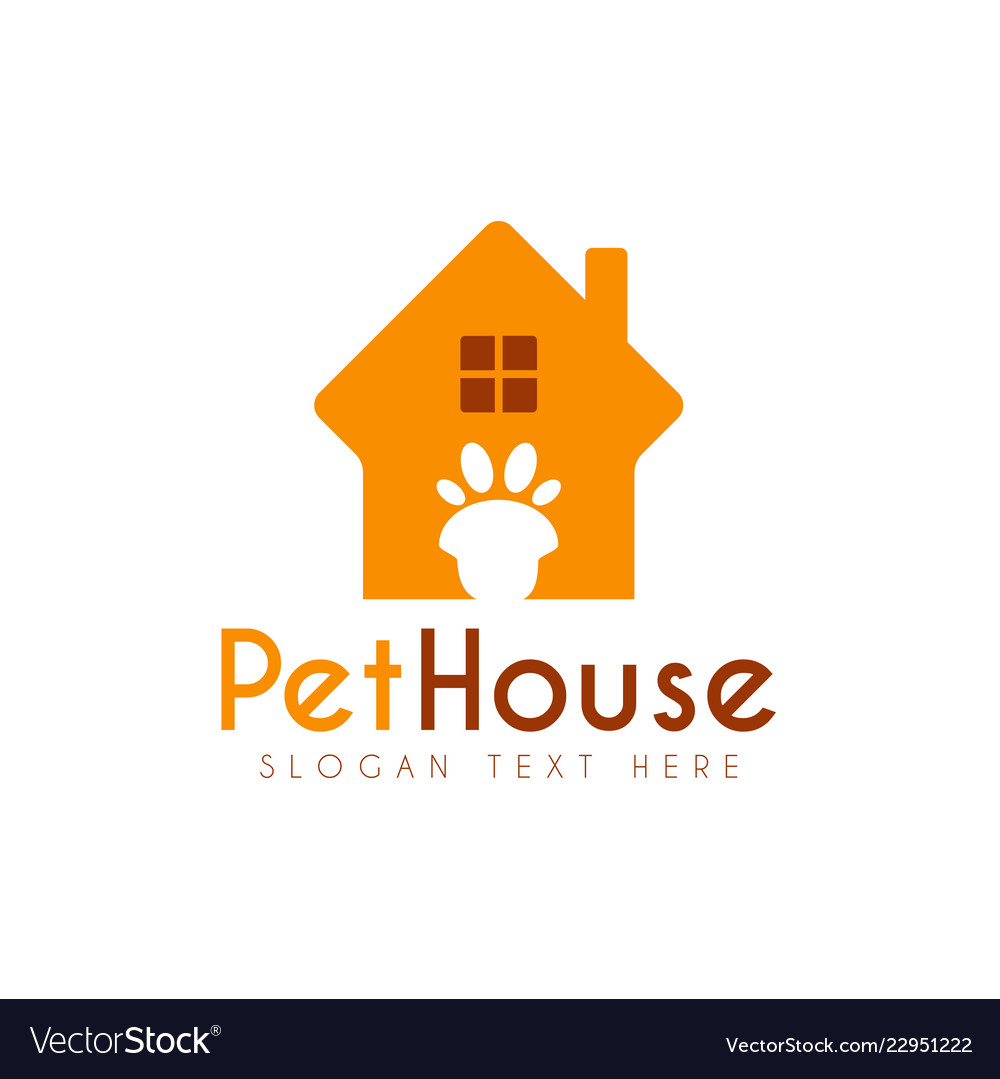 pet paw house logo design template royalty free vector image