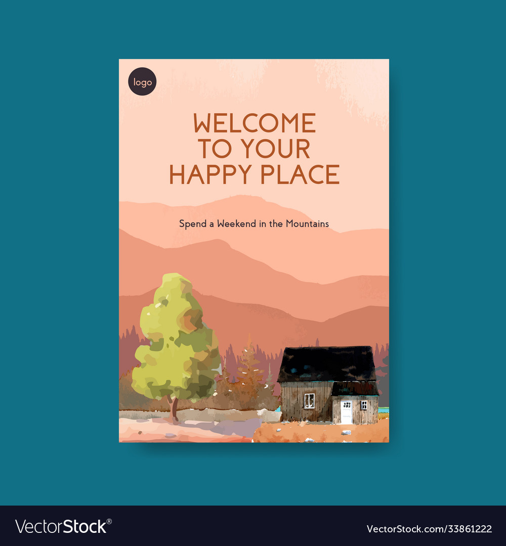 Poster template with landscape in autumn design