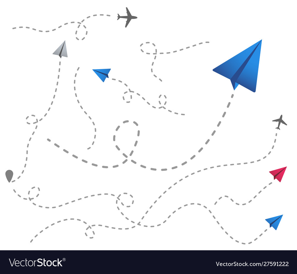 Set colored paper airplanes with dotted flight
