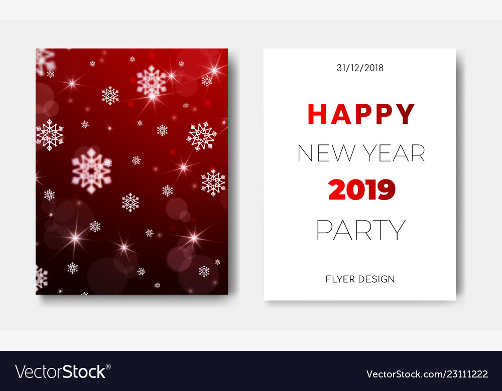 Set of 2 happy new year night flyers banner with