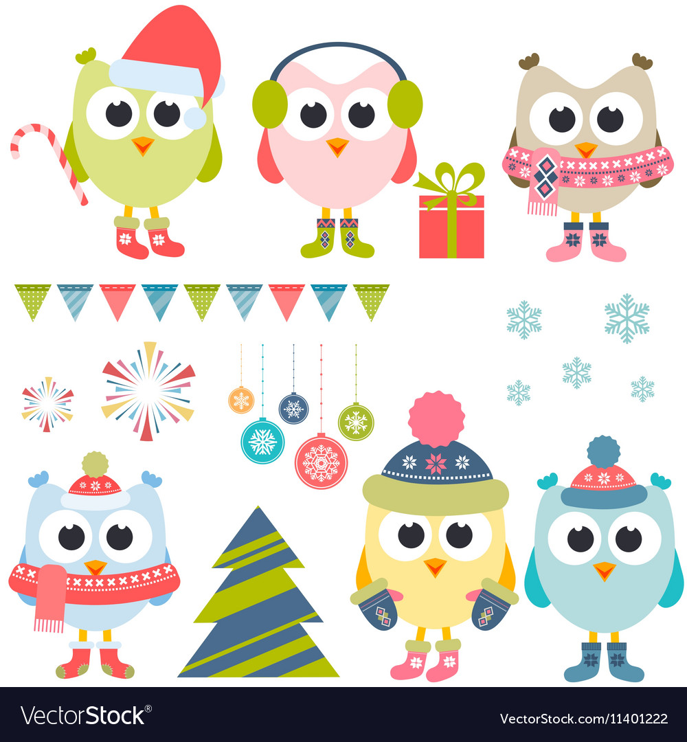 Set of christmas owls in winter
