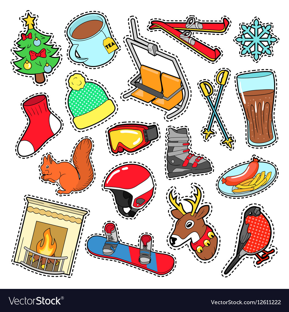 Winter Stickers Badges Patches Decoration