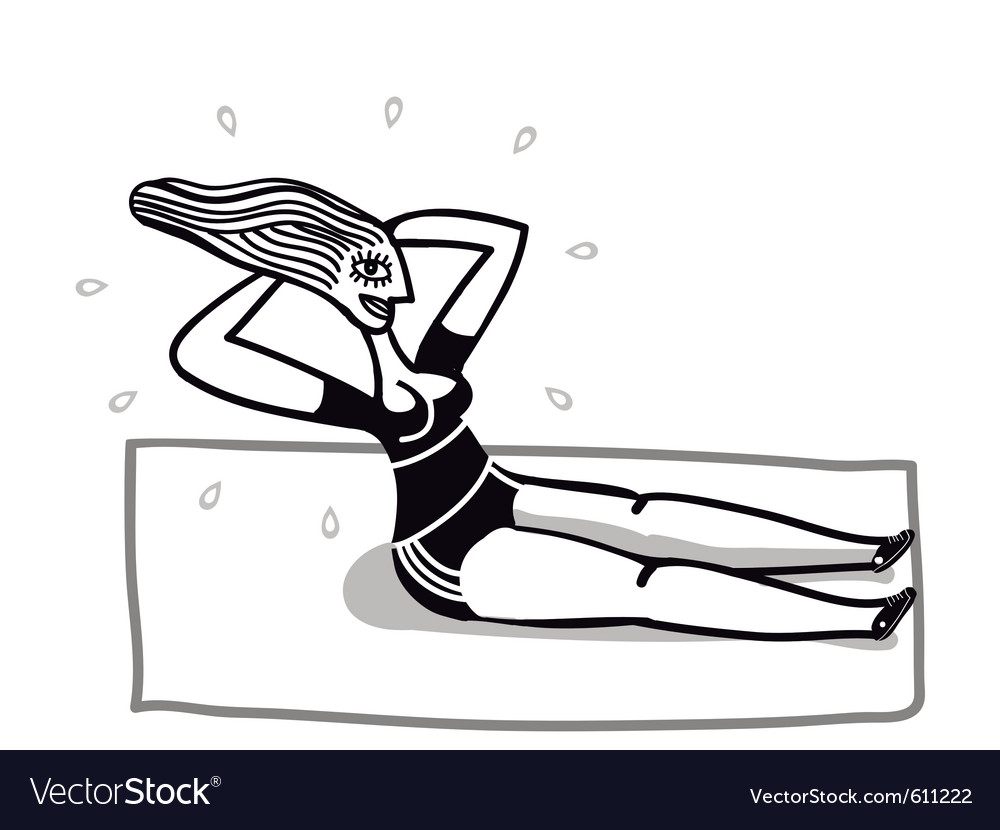 Woman does aerobic vector image