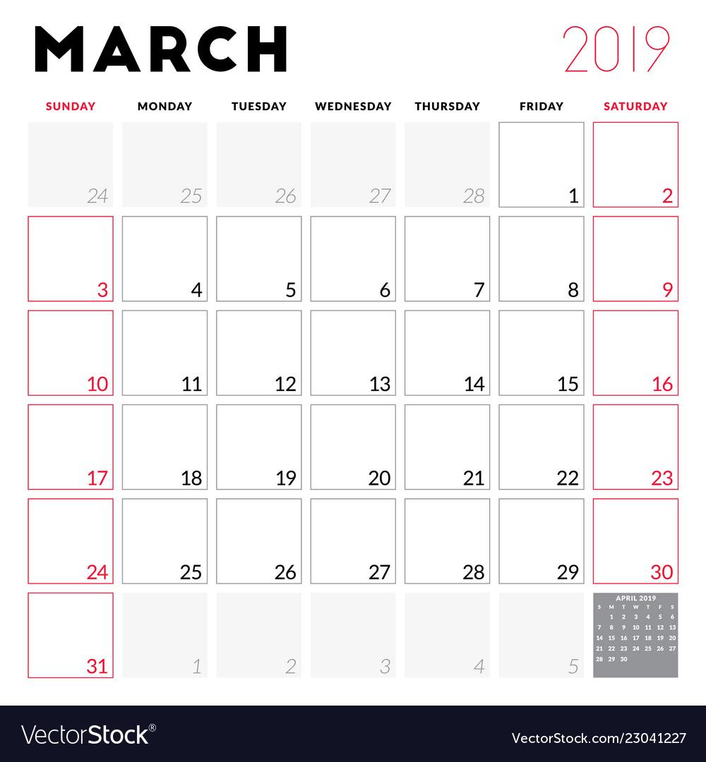 calendar planner for march 2019 week starts on vector image