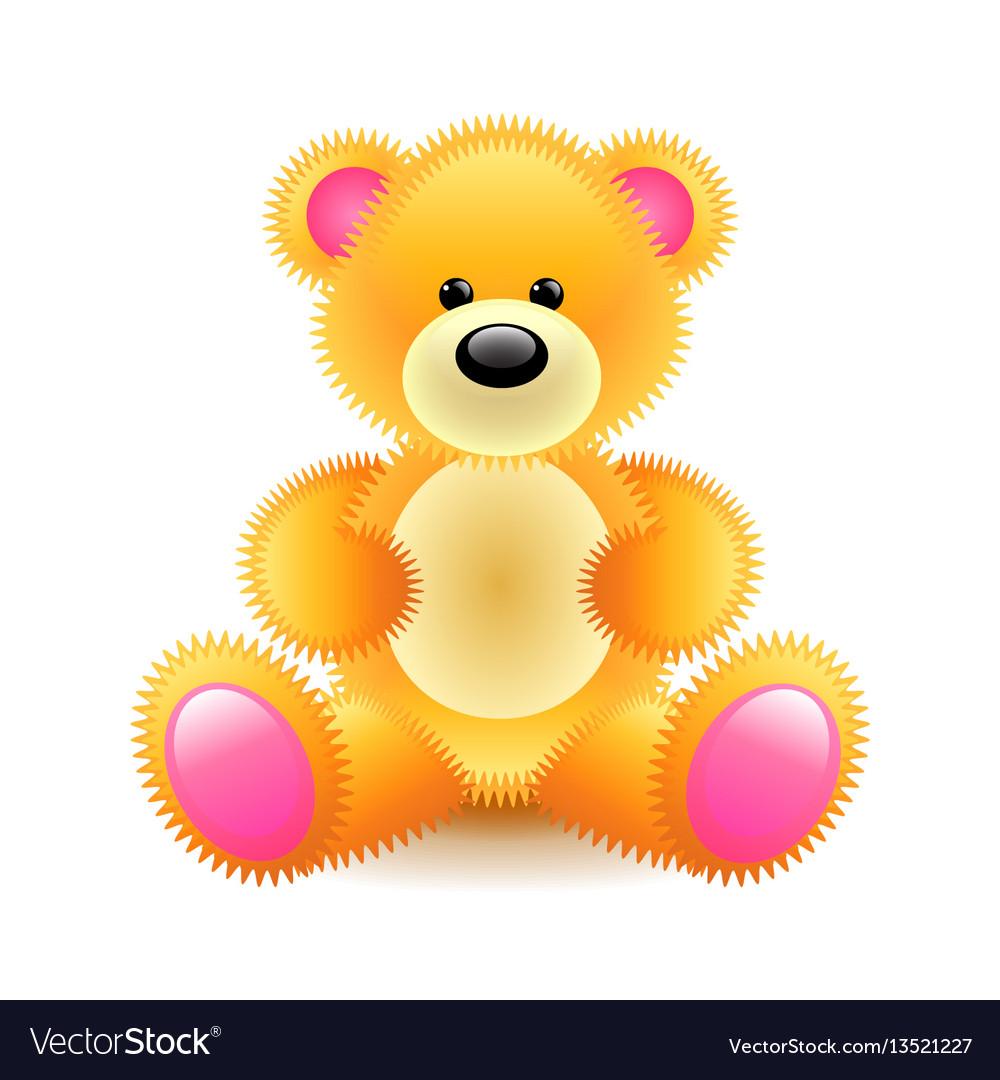 Cute orange bear soft toy isolated on white