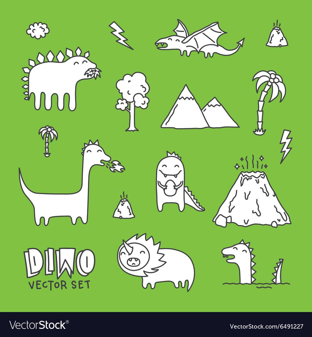 Dino cartoon set white