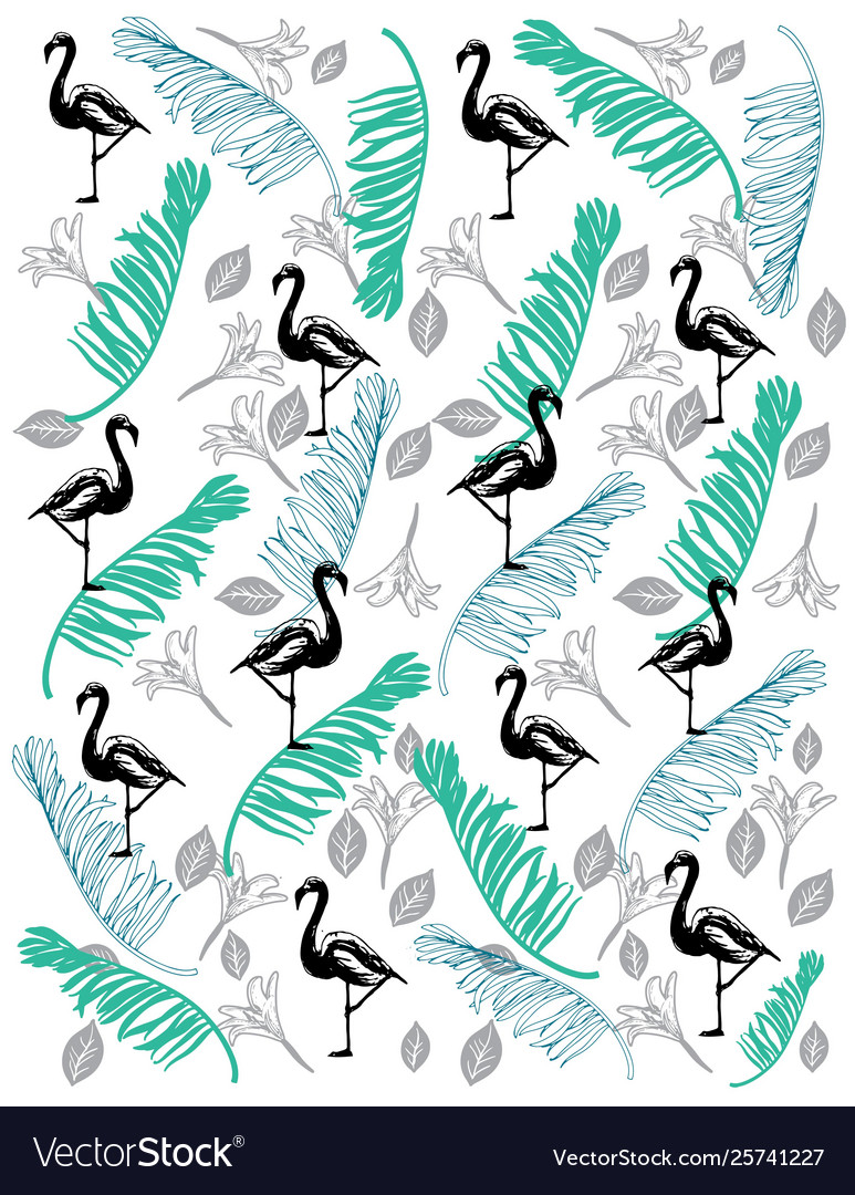 Flamingo pattern with coco leaf