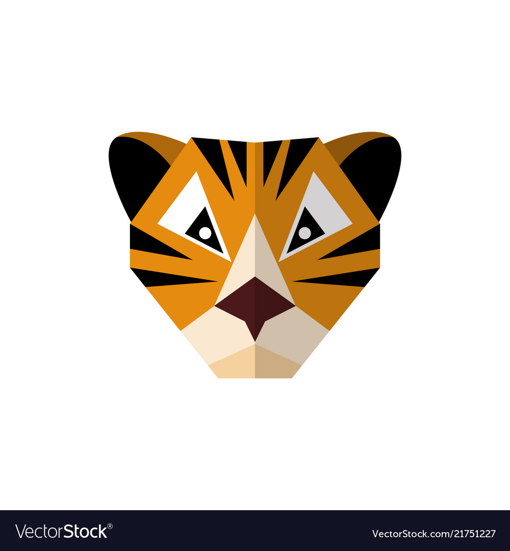 Flat style icon tiger on a white background