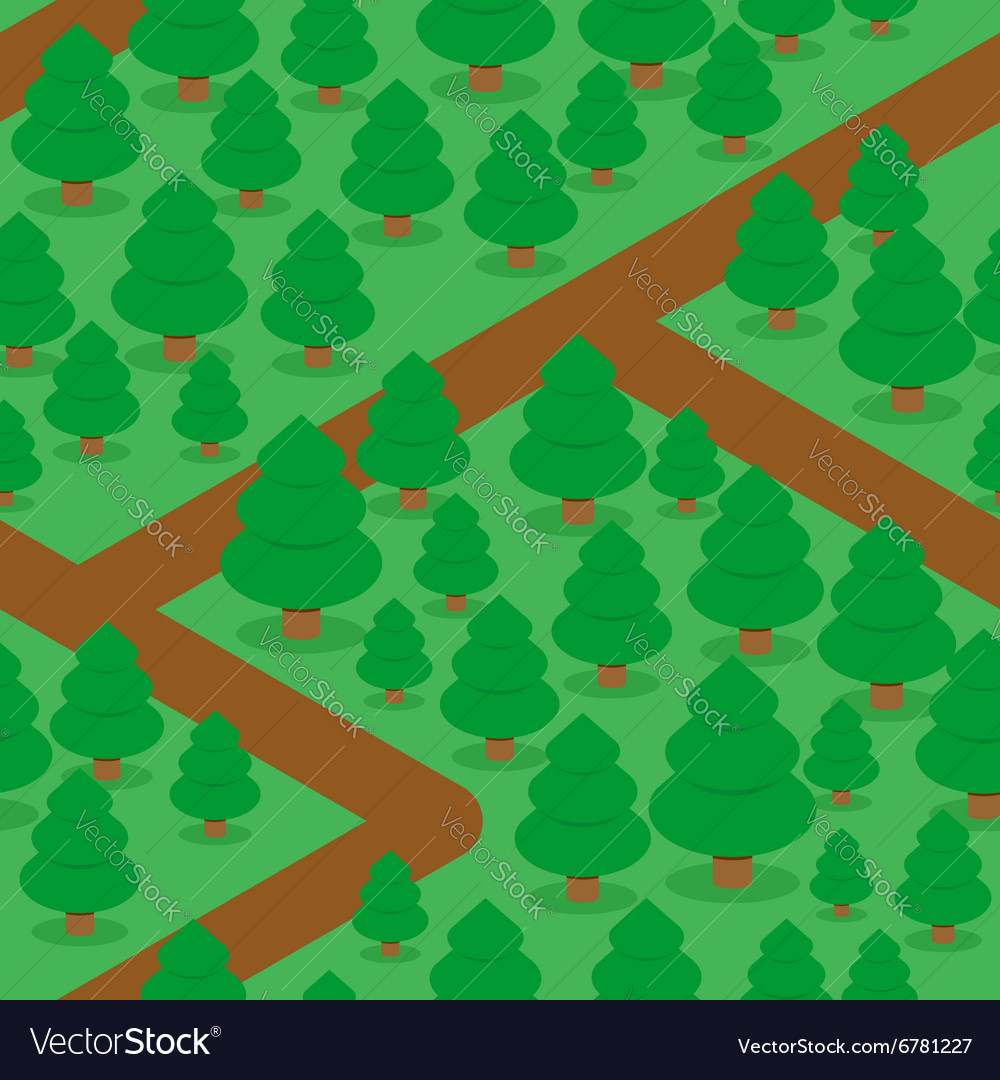 Forest seamless pattern Spruce thicket natural