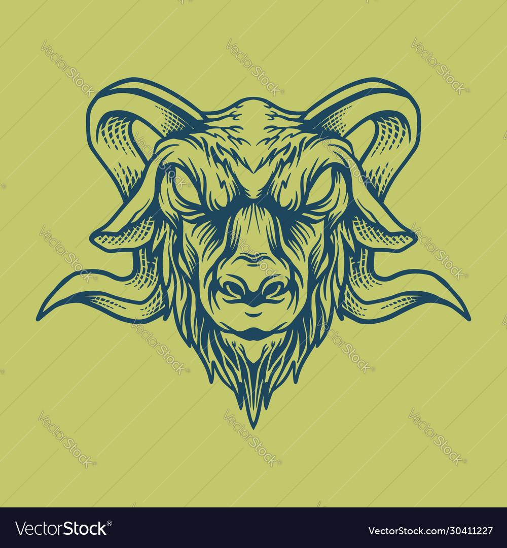 Goat head design style vintage