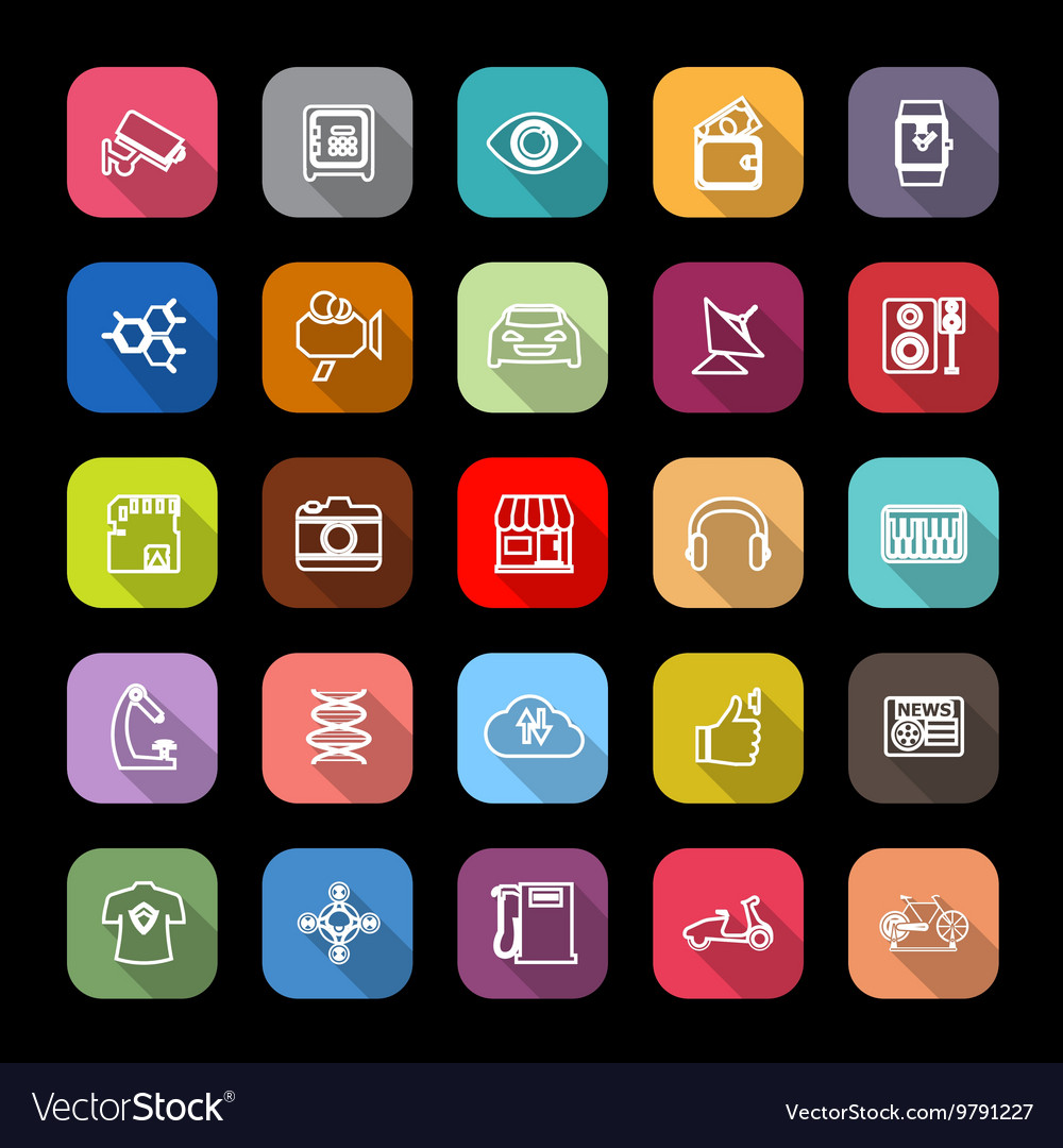 Hitechnology line icons with long shadow vector image