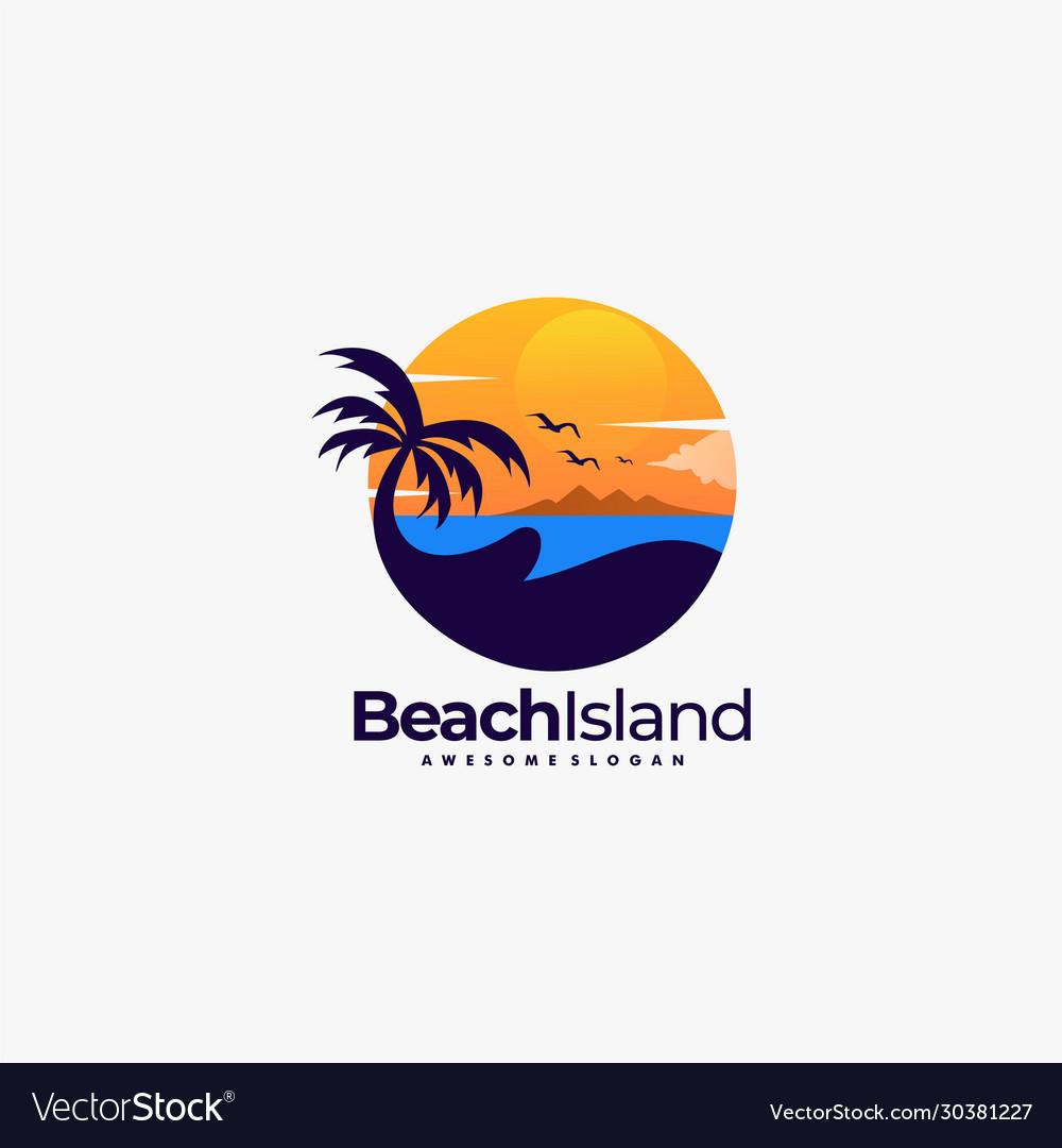 Logo beach landscape vintage badge style