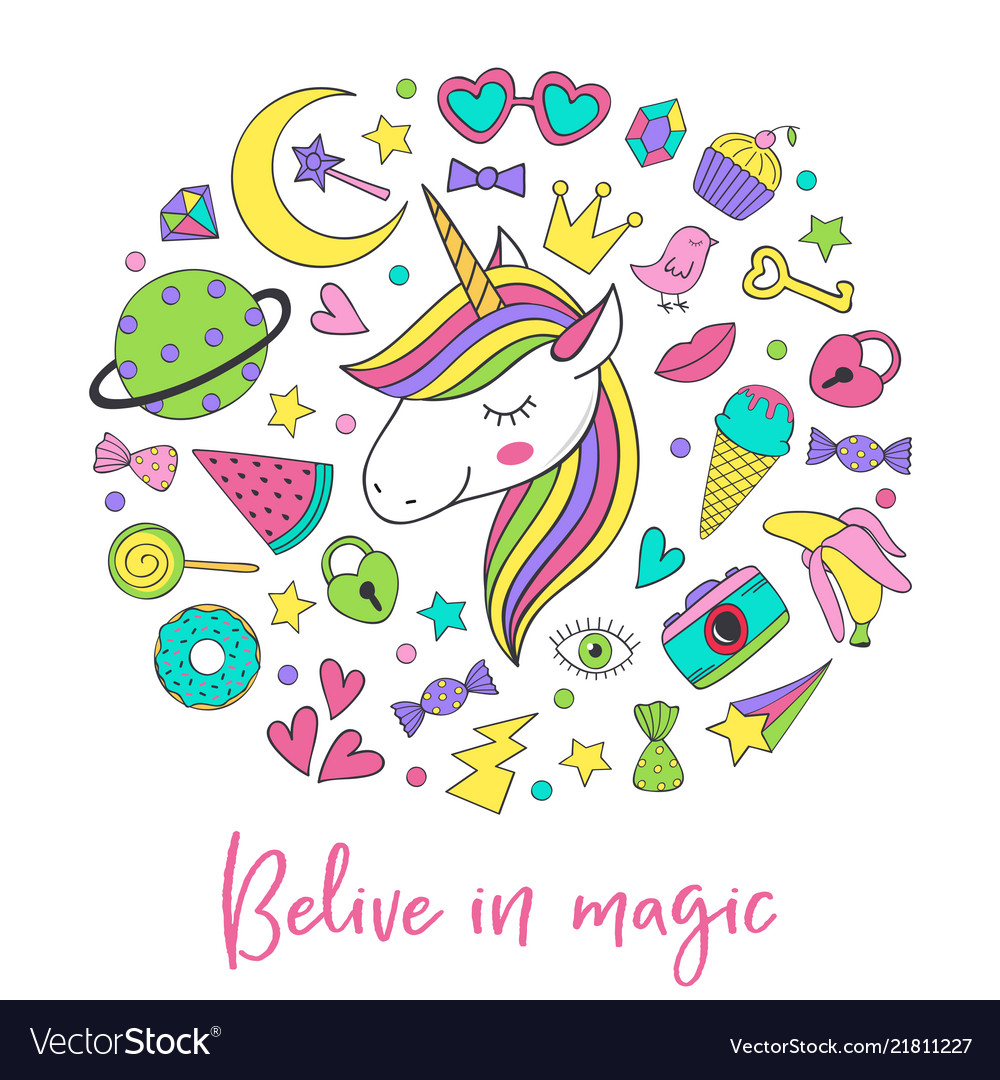 Magic unicorn and collection cute stickers vector image