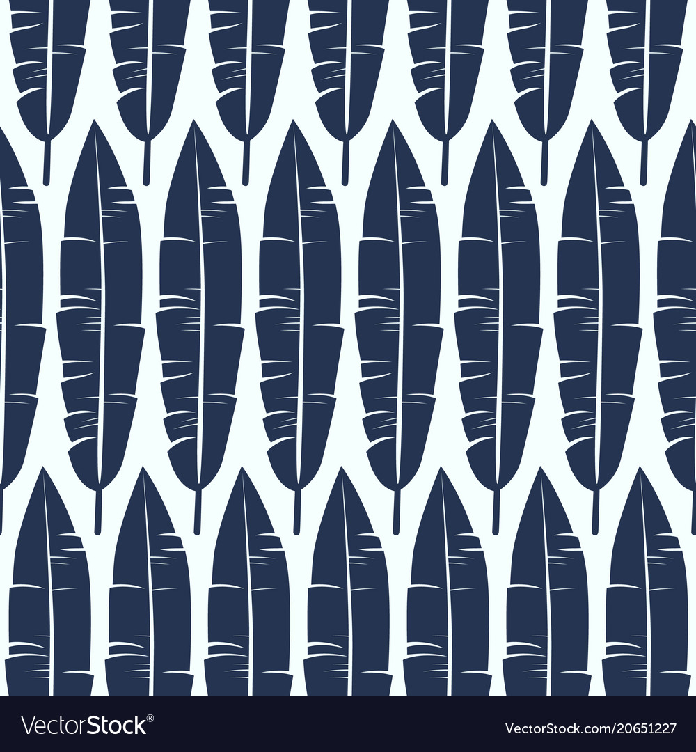Seamless pattern with banana palm tree leaves