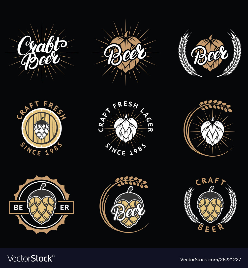 Set craft beer emblems logos badges