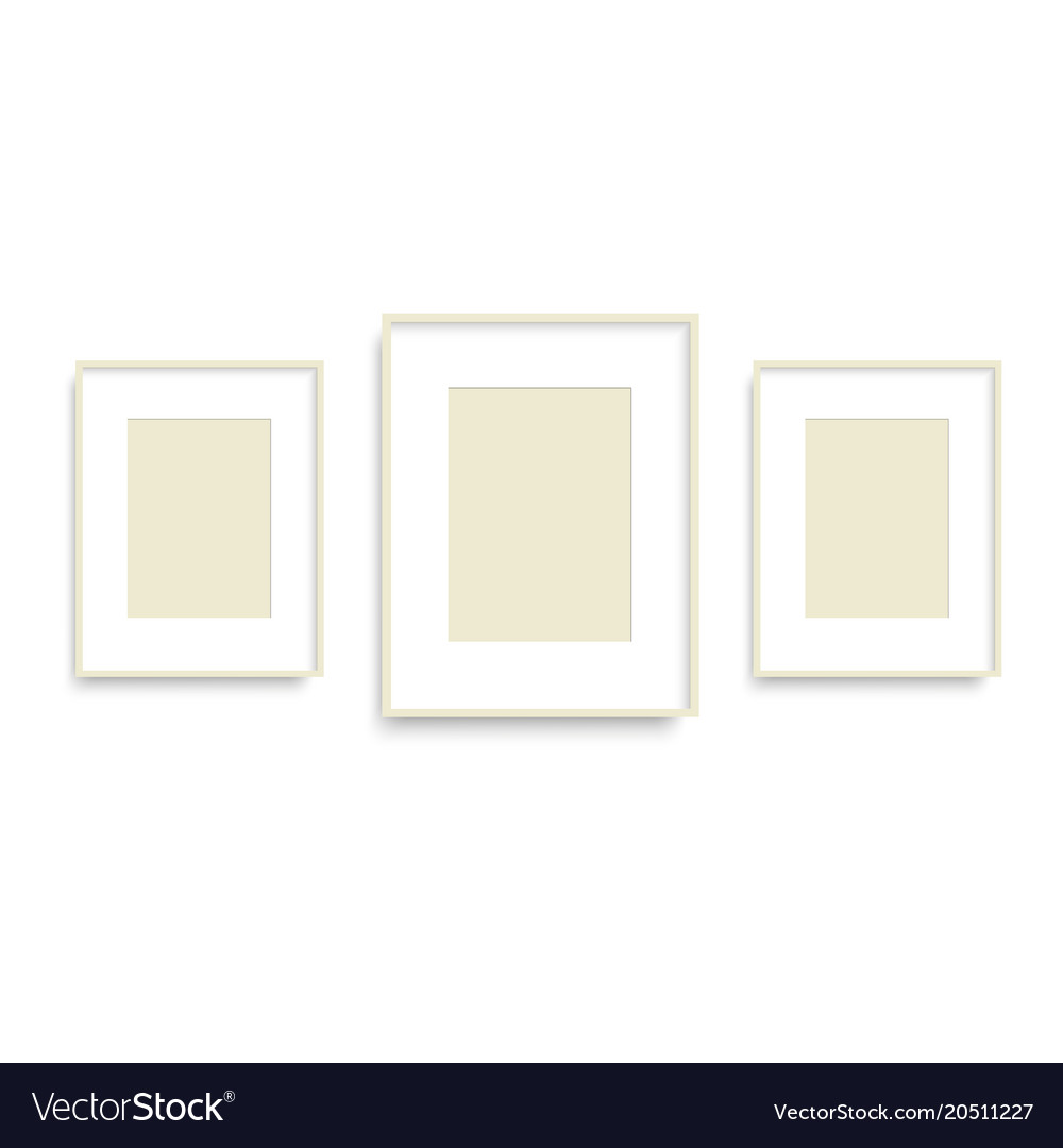 Set of yellow photo frames on the wall