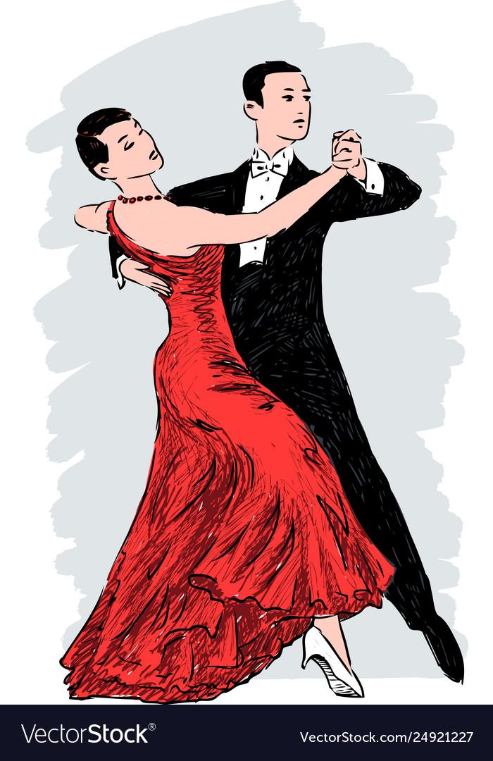 Sketch a couple dancing tango