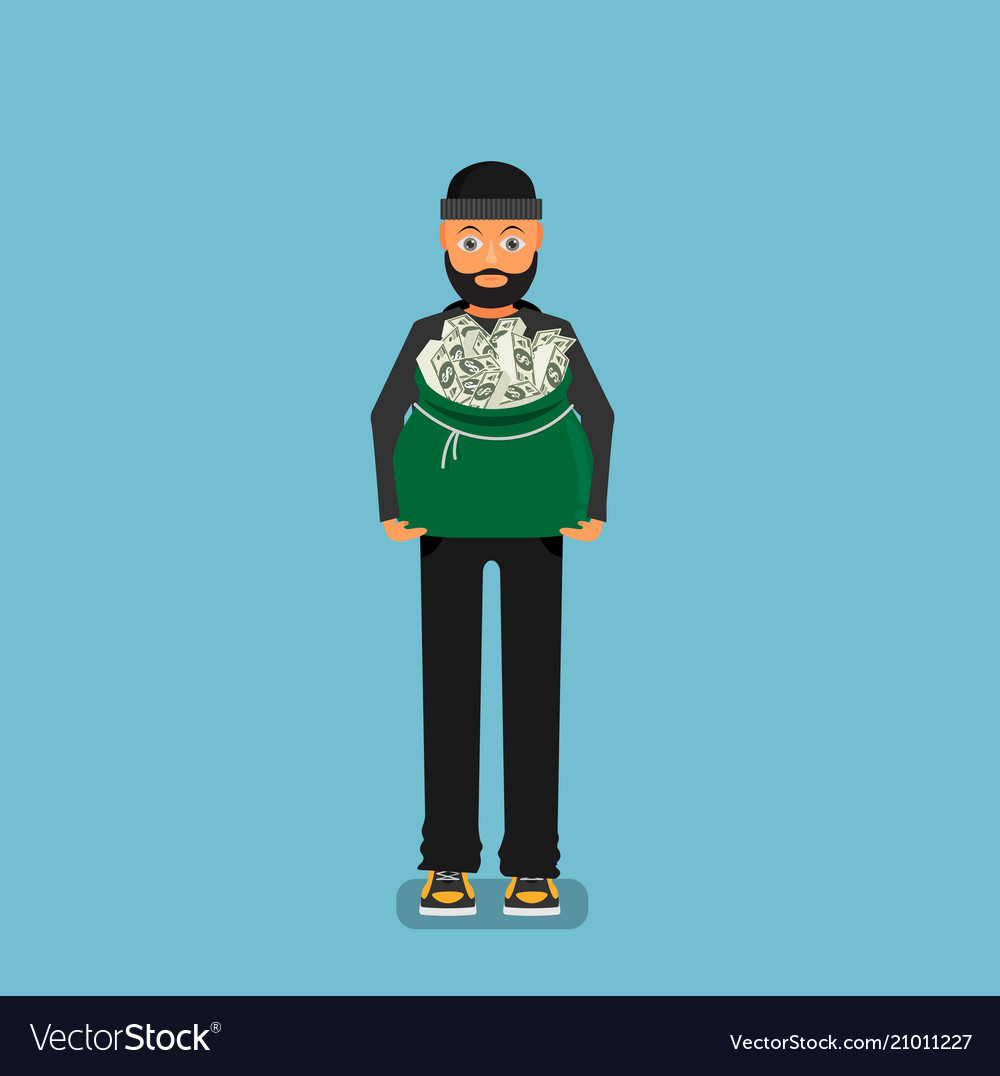 Thief carries a bag of money flat design