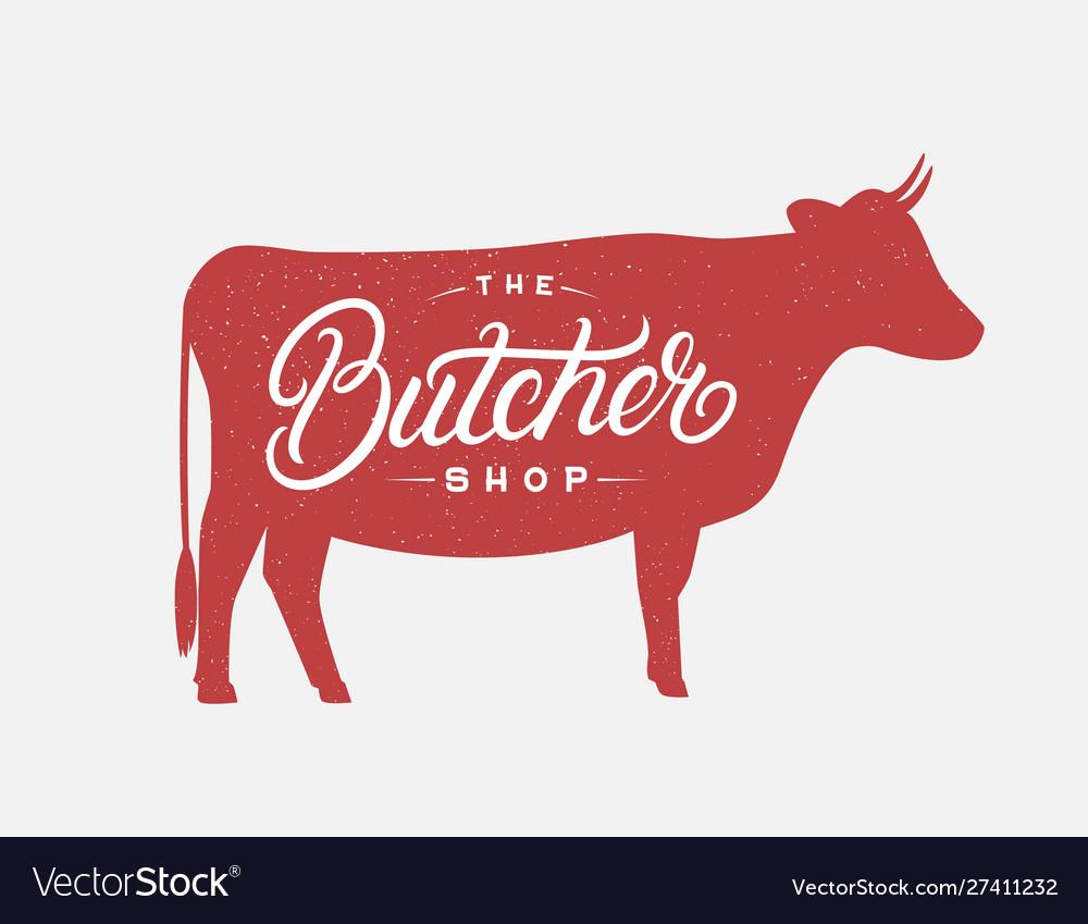 Butcher shop hand written lettering logo