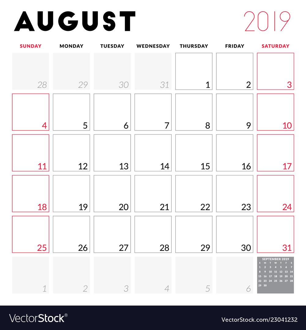 Calendar Week.Calendar Planner For August 2019 Week Starts On