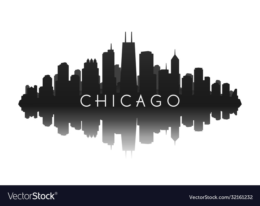 Chicago skyline in black with reflection