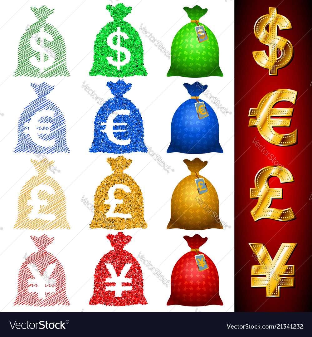 Currency Sack Dollar Usd Euro Eur Pound Gbp Yen Vector Image