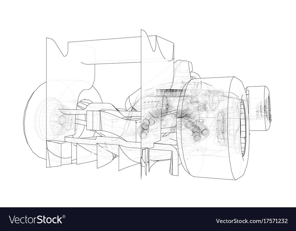 Formula 1 car abstract drawing tracing
