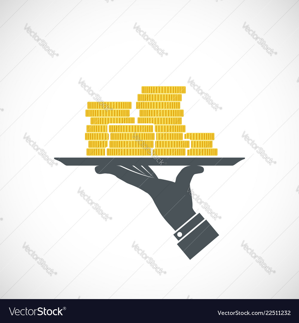 Icon human hand holding a tray with gold coins
