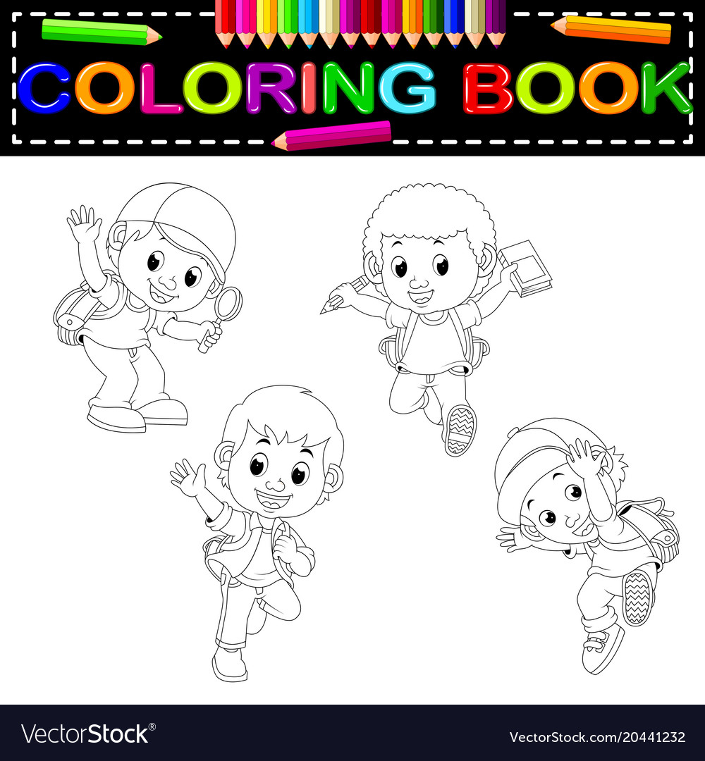 Kids school coloring book Royalty Free Vector Image