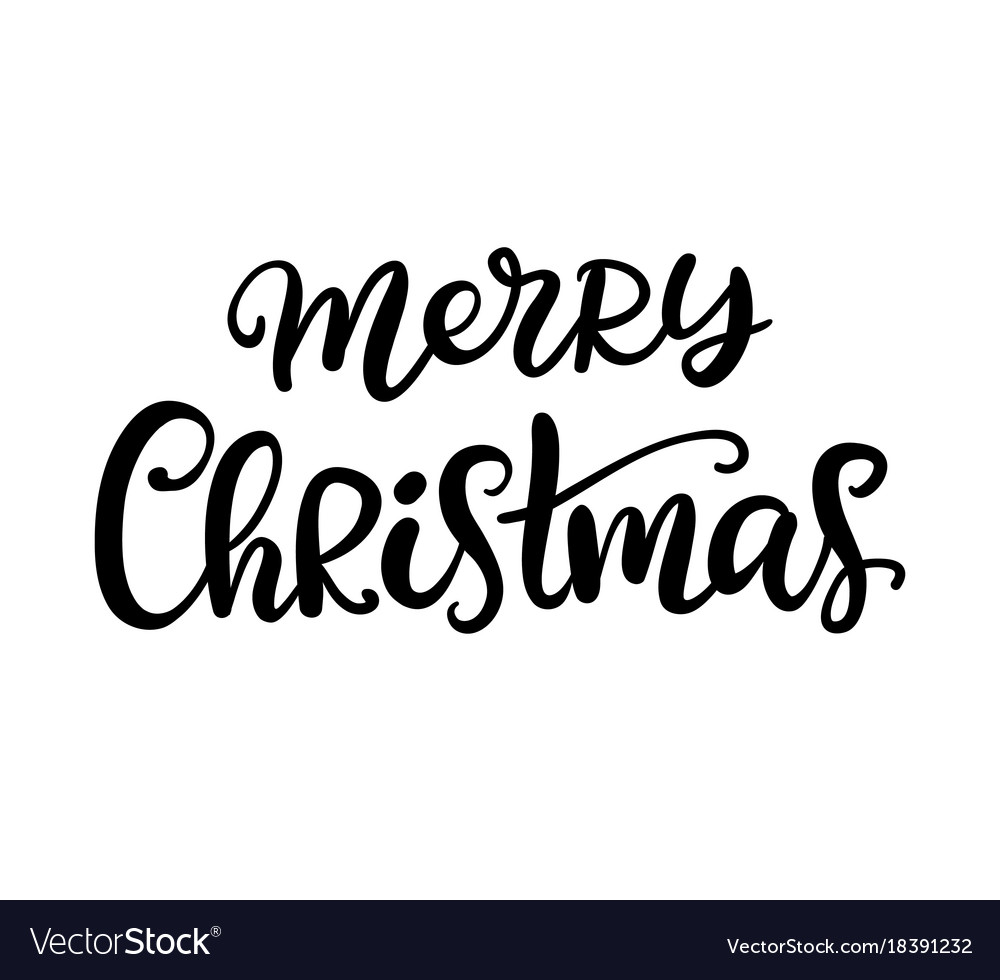 merry christmas brush calligraphy vector image