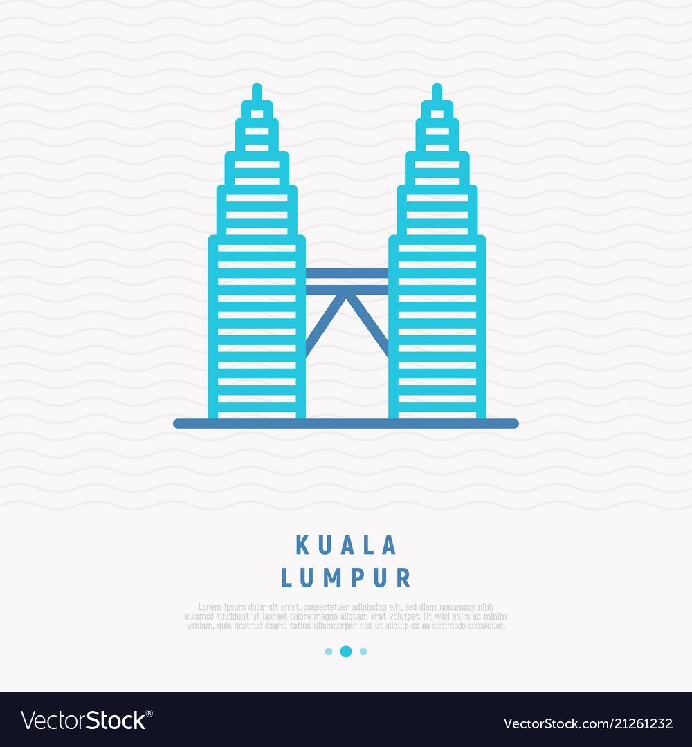 Modern landmark kuala lumpur thin line icon