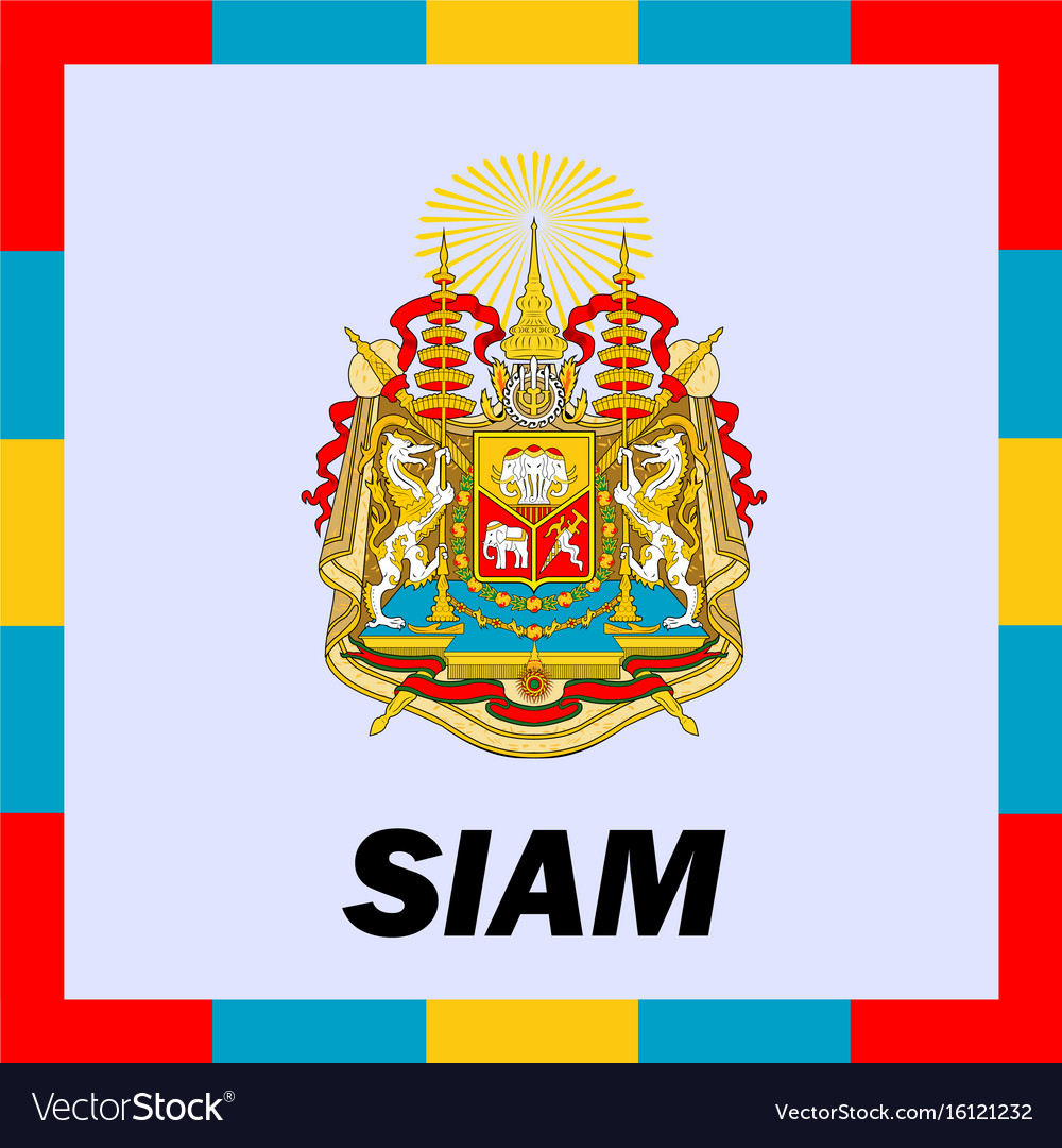 Official ensigns flag and coat of arm of siam