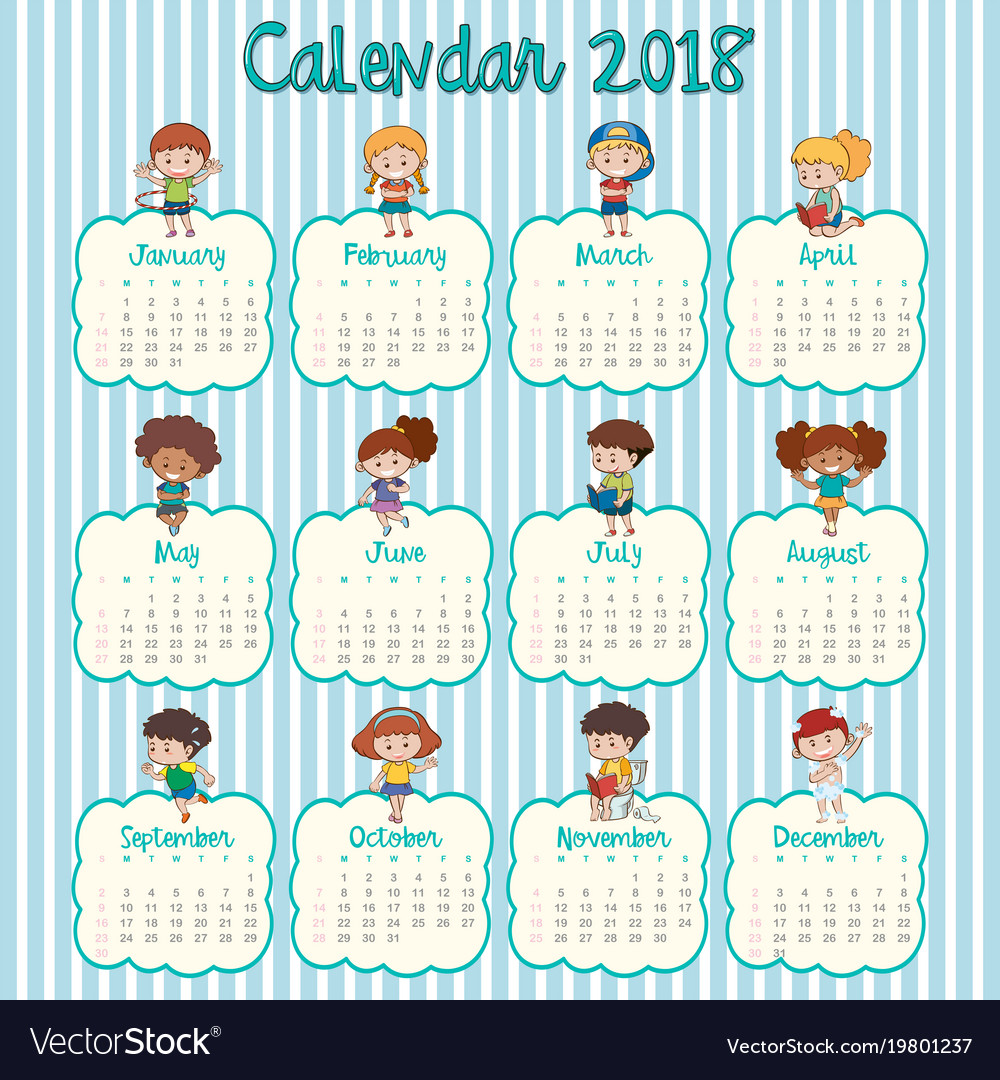 2018 calendar template with happy kids
