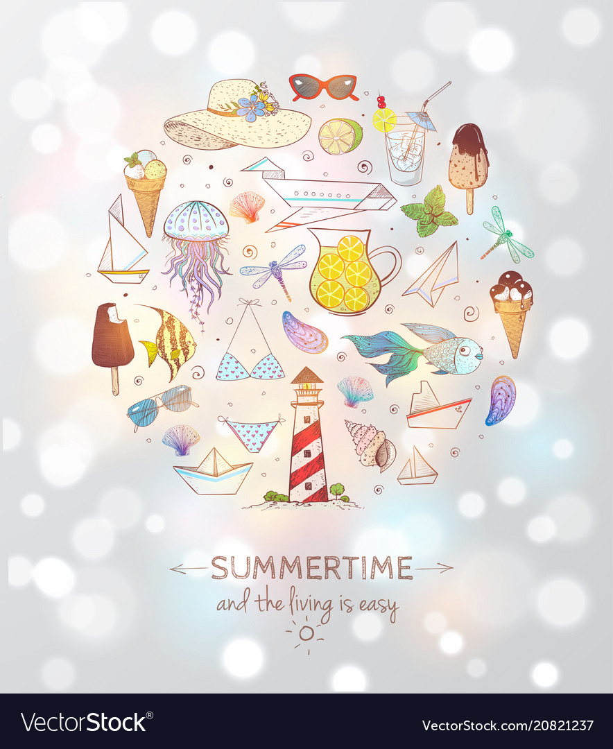 Card with summer doodle sketch elements