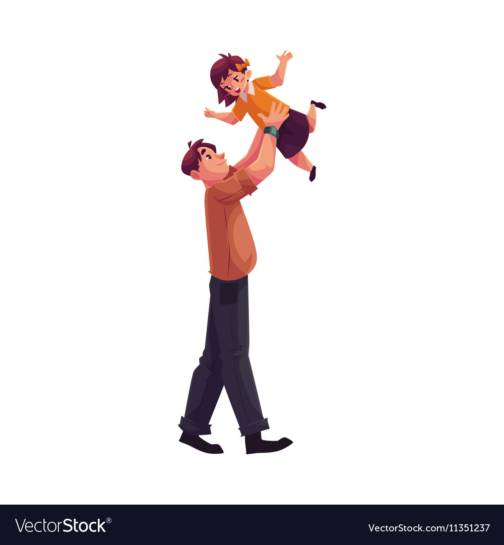 Father playing with daughter throwing her into air