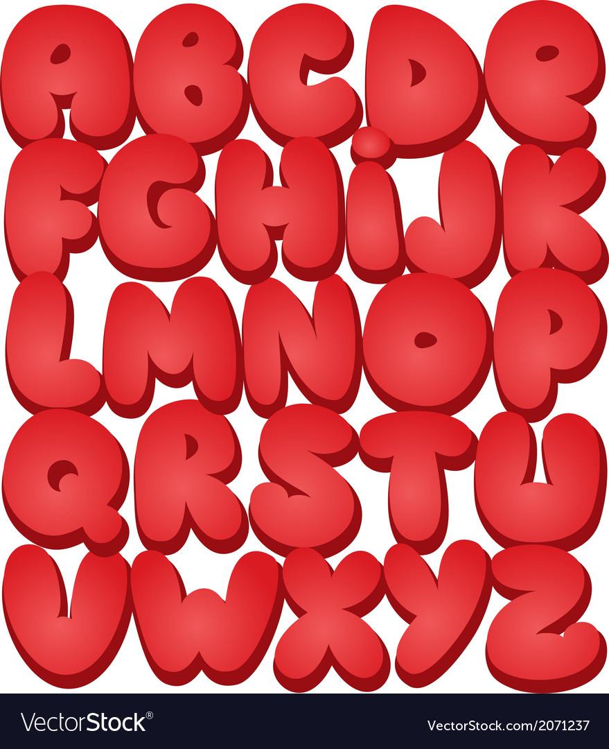 Graffiti font alphabet different letters