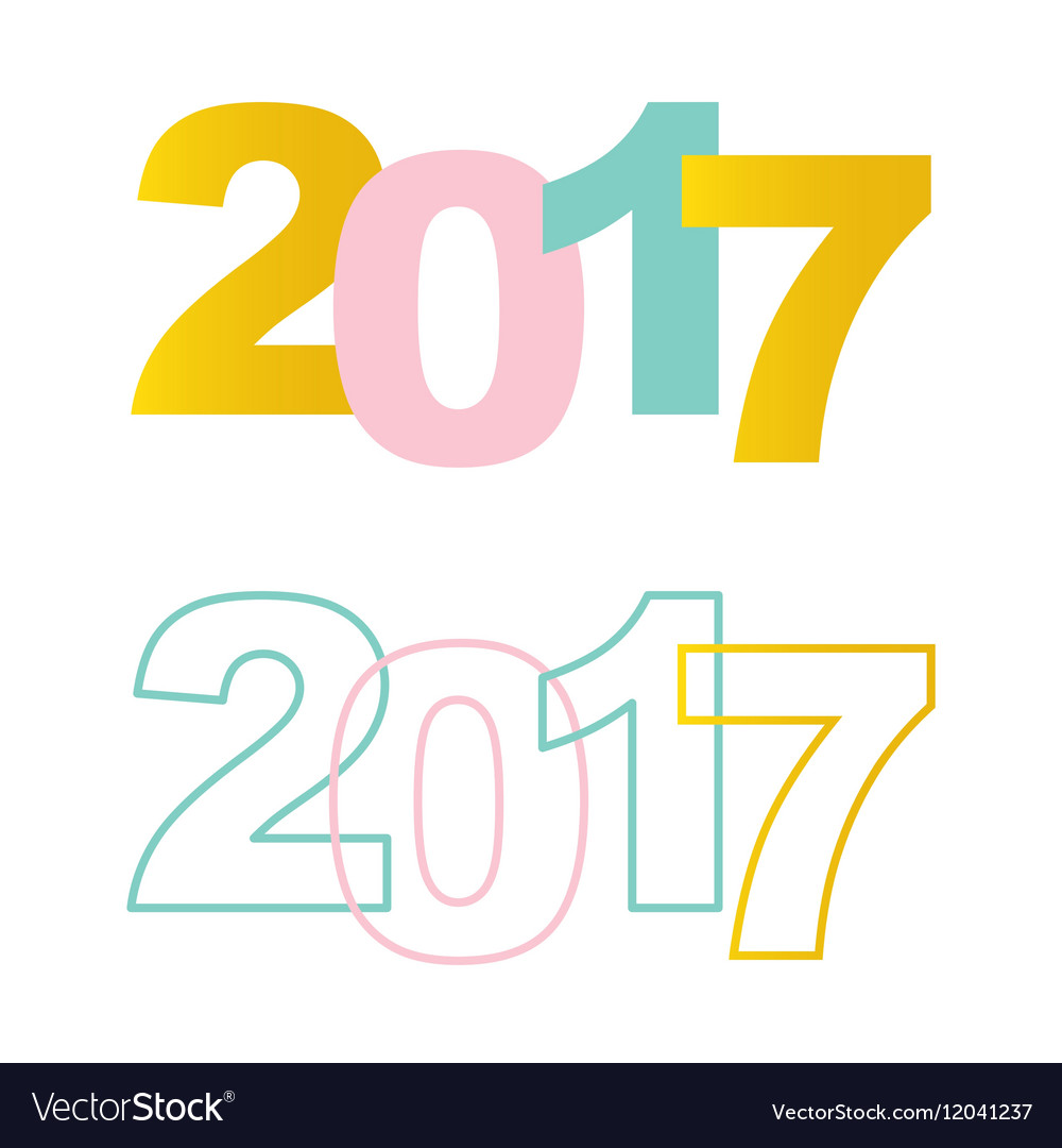 Happy New Year 2017 colorful flat design elements