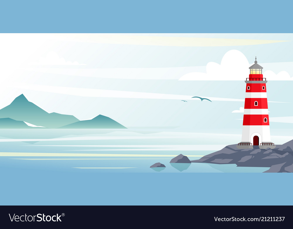Lighthouse with ocean or sea beach view on