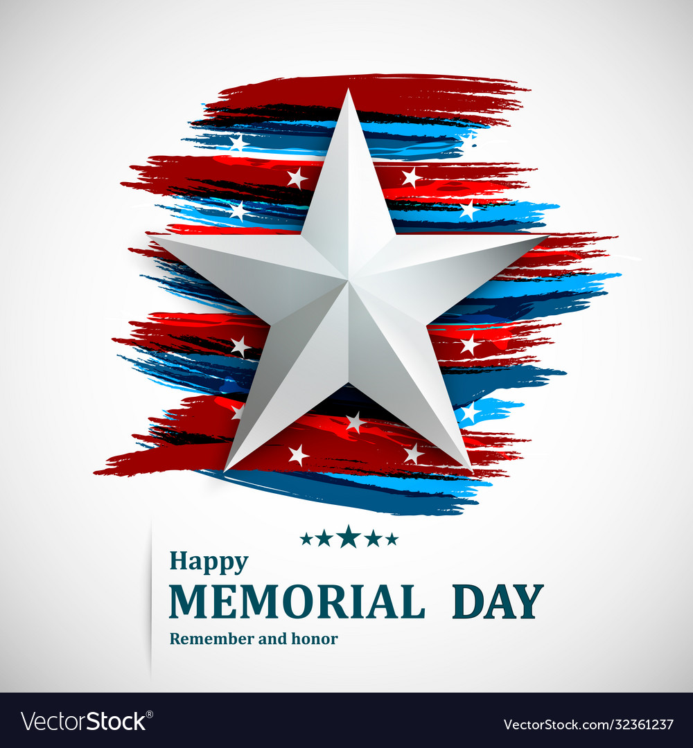 Memorial day with star on national flag background