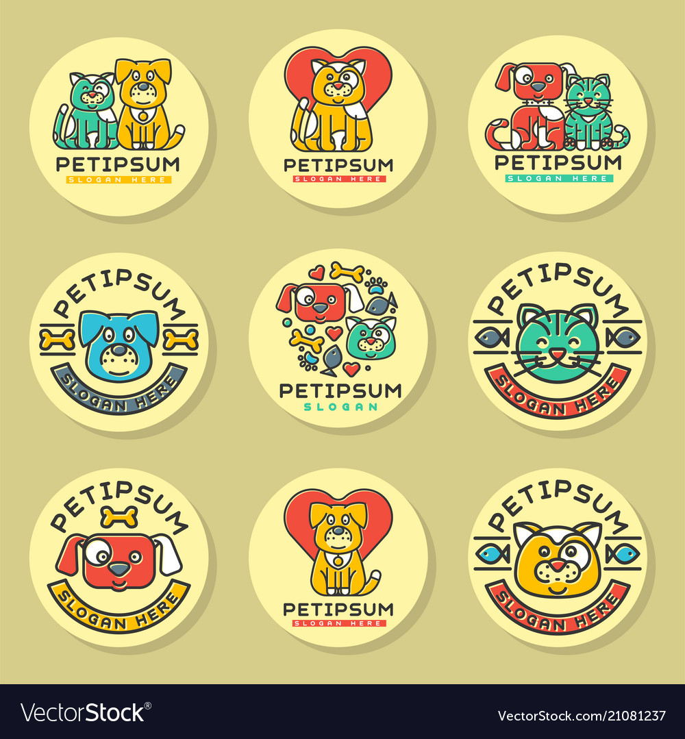 Pet cat and dog domestic insignia