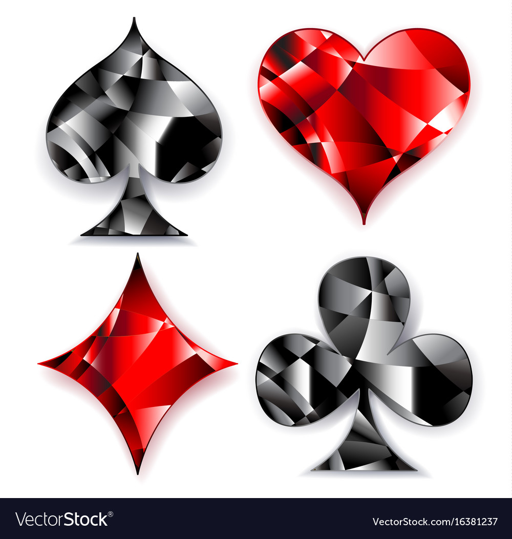 Polygonal symbols of playing card vector image