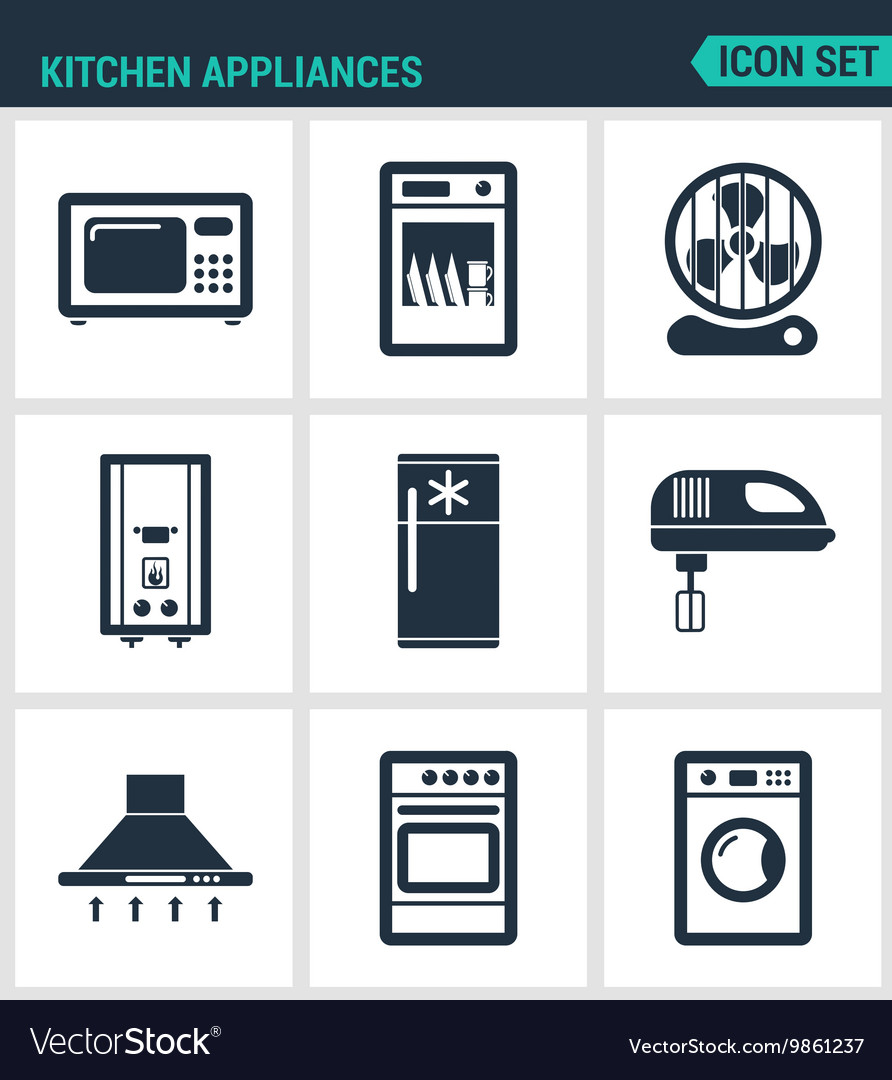 Set Modern Icons Kitchen Appliances